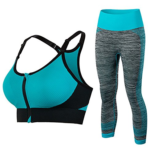 Price comparison product image Women's 2 Piece Sports Sets Yoga Fitness Seamless Sports Bra+Pants Leggings Set (L, Set5)