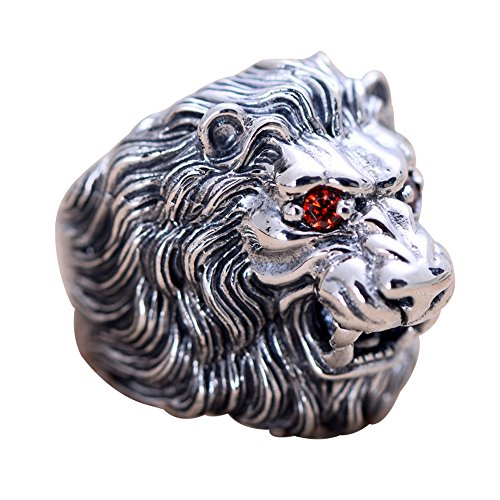 For Fox Mens Chunky 925 Sterling Silver Animal Lion Head Ring Jewelry with Red Eyes Size 10.5