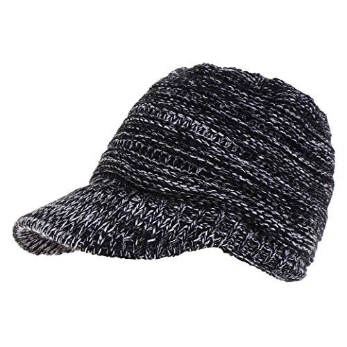 8eaff9619222d Lujuny Knit Ponytail Baseball Bill Hat Winter Visor Snapback Cap for Women  Girls (White Black