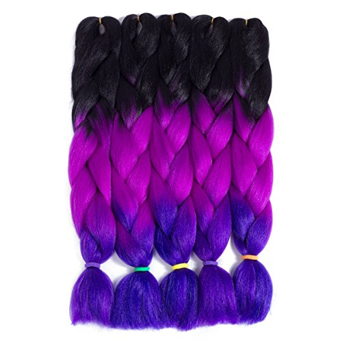 5 Pieces 24'' Jumbo Braid Black Purple Blue Color 3 Tone Ombre Afro Jumbo Braiding Hair Extensions High Temperature Kanekalon Synthetic Fiber Crochet Braiding Hair for African Americans 49#
