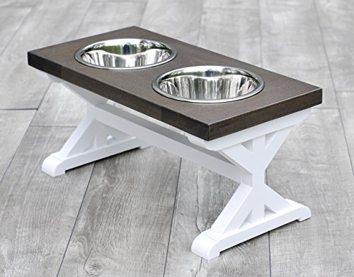 Medium Trestle Style Farmhouse Dog Bowl Stand (Brittany Cocker Spaniel)