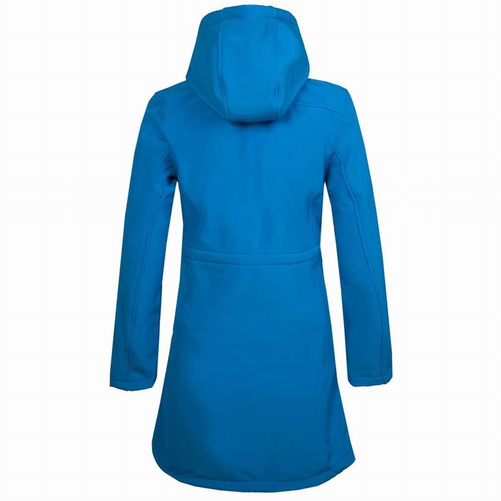 CIKRILAN Womens Outdoor Thick Softshell Fleece Lined Long Jacket Coat Ladies Hooded Windproof Skiing Travelling Overcoat