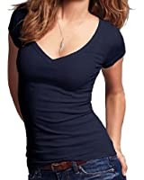 Juniors Short Sleeve V-neck Tee Top Shirt Cotton Regular and Plus Sizes