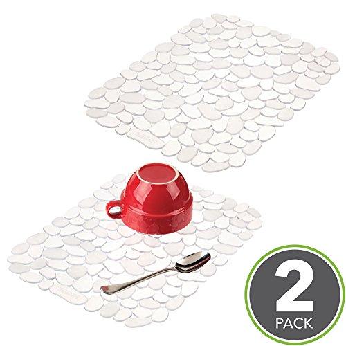 mDesign Decorative Kitchen Sink Protector Mat Pad Set, Quick