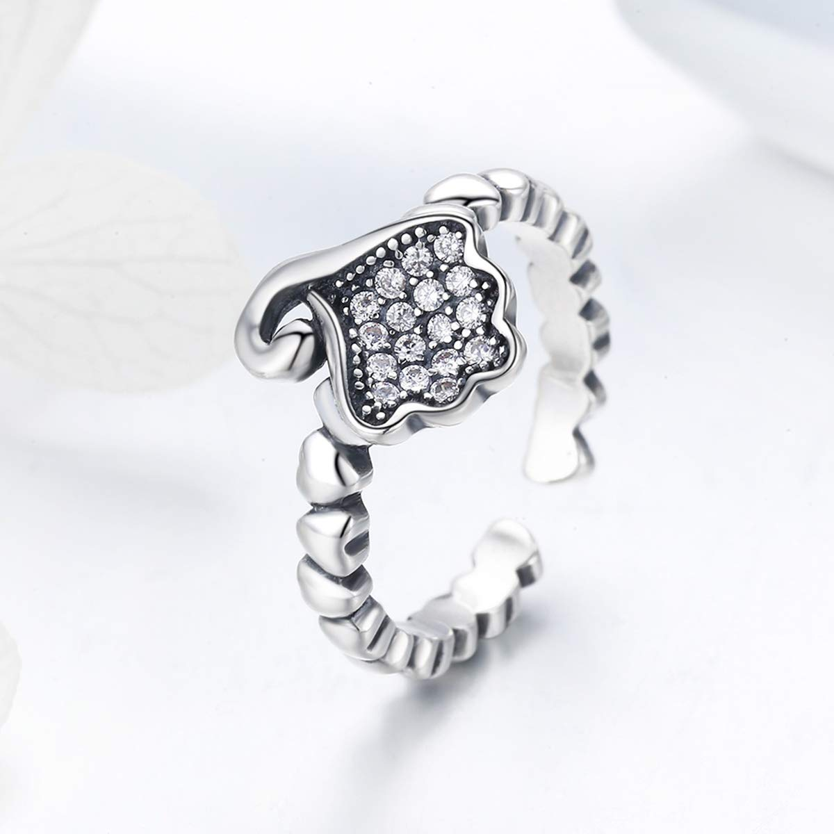 Clear CZ Everbling A Little Wave 925 Sterling Silver Adjustable Ring