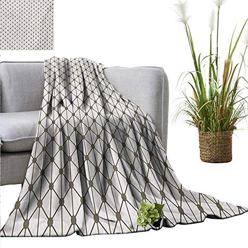 Blanket Modern,Geometrical Diamonds Square Shaped Striped Crosses with Dots Image Print,Sage Green and White Flannel Super Soft Warm Thick Blanket for Home 50