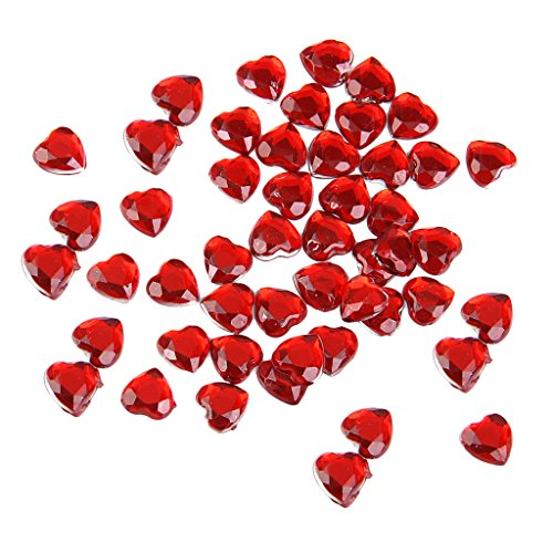 Dovewill 6 Colors 8mm Heart Shape Rhinestone Flat Back Embellishment Wedding Gift Wrap Decor Scrapbook Crafts Beads DIY Charms Pack of 500 - Red - Red Flat Heart Charm