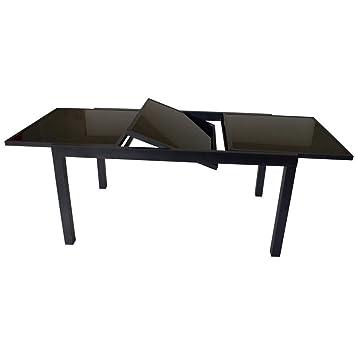 Gartentisch Torino 150/210x90x75cm Ausziehbar Alu Glas Schwarz  Pulverbeschichtet