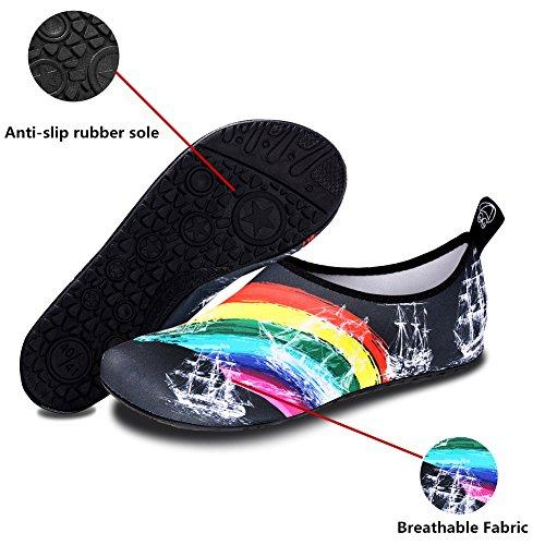 Zapatos De Agua Para Mujer Para Hombre Zapatos De Piscina Descalza Para La Playa Calcetines De Aqua Aqua De Secado Rápido Para Nadar Con Surf Water Sport Rainbow