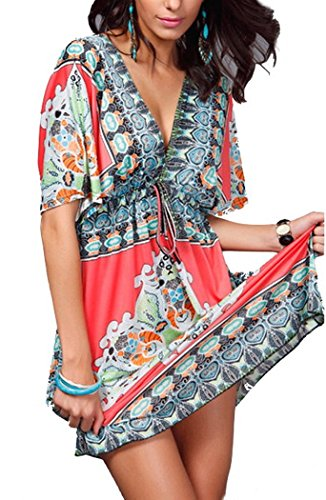 Womens Summer National Print Party V neck One Piece Dress (XL (US L), Rose Red)