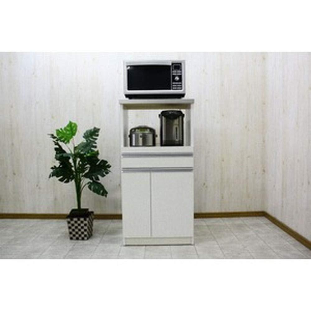 レンジ台-キッチン収納-1型幅60cmスライドレール/二口コンセント/米びつ付き日本製ホワイト-白--完成品- B07T9FRQQN