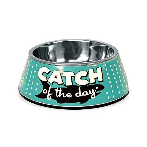 (Punchline Pet 'Catch of the Day' Retro Melamine Dog Bowl or Cat Bowl with Stainless Steel Dog Bowl Insert, 5.5 oz)