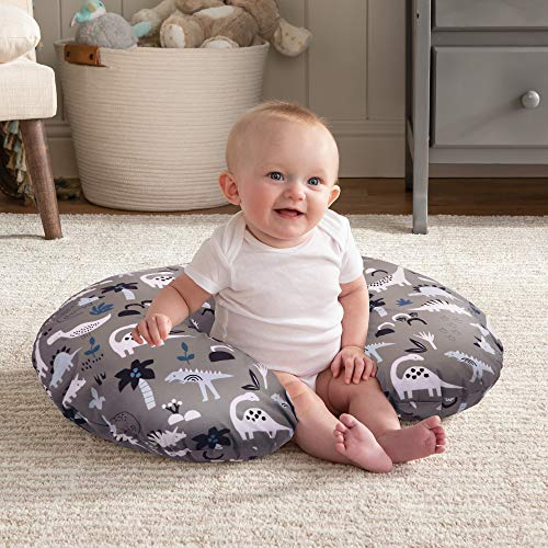 51g%2BhNaNzPL - Boppy Original Nursing Pillow And Positioner, Gray Dinosaurs, Cotton Blend Fabric With Allover Fashion