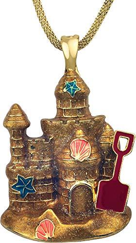 - Wearable Art by Roman Beach Sand Castle Pendant Necklace Gold Tone Multi