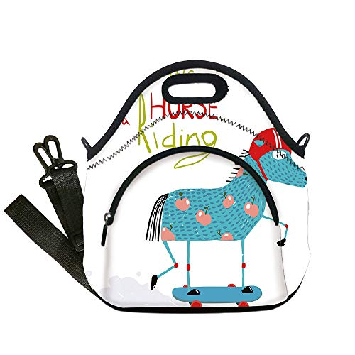 - Insulated Lunch Bag,Neoprene Lunch Tote Bags,Quirky Decor,Horse with Helmet on Skateboard Colorful Funny Kids Cartoon Humorous Childish,Multicolor,for Adults and children