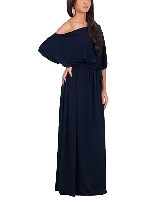 Vestido para Mujer Largo Sin Hombro De Fiesta Cóctel Tallas Grandes Elegante Azul Marino M