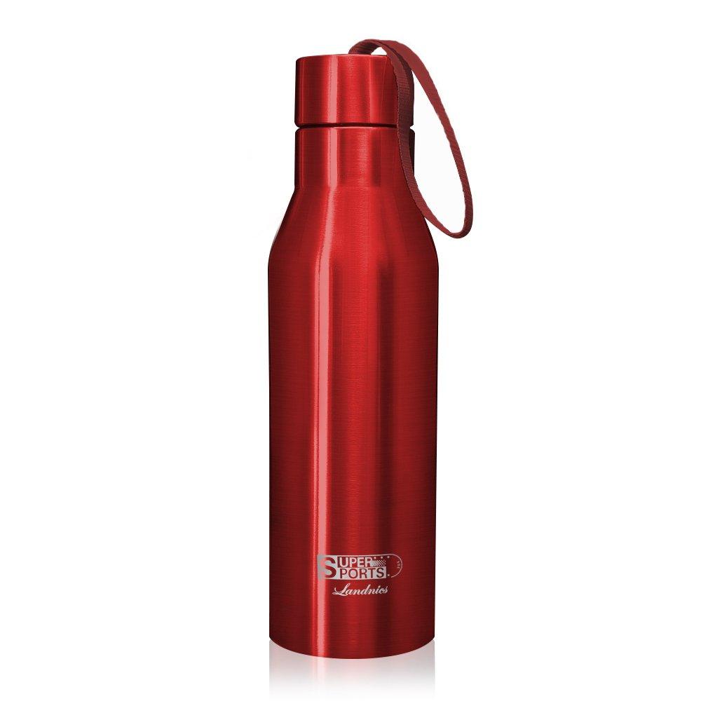 720ML Botellas Agua de Acero Inoxidable, Deportiva Botella Térmica Libre de BPA 24 Horas Frío y 12 Horas Caliente, Termo Aislada para Camping Senderismo Ciclismo, Plata Landnics