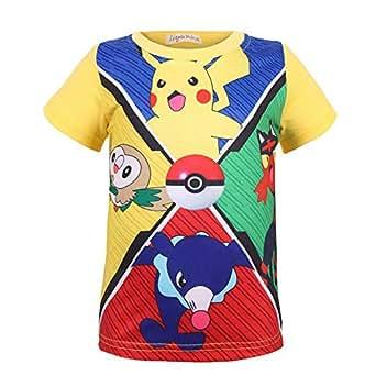 Unisex Pokemon Camiseta de Dibujos Animados Pikachu Imprimir Cuello Redondo Sudadera de Manga Corta Camiseta Impresa para Hombres y Mujeres Camiseta: ...