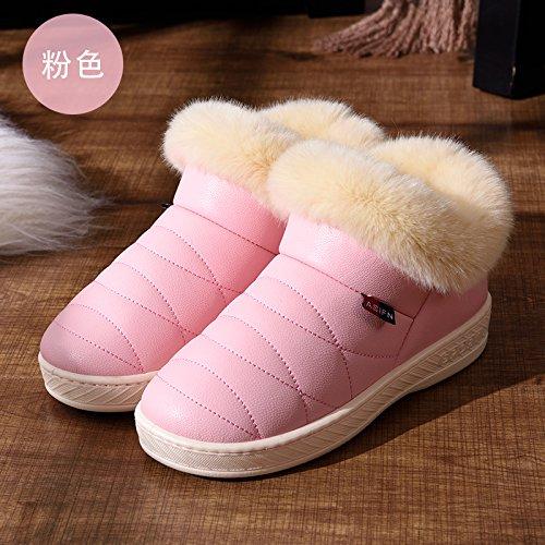 DogHaccd pantofole,Inverno pelle pu alta per aiutare uomini e donne rimanere impermeabile home paio di pantofole di cotone confezione con spesse, antiscivolo indoor scarpe di cotone,Rosa38-39