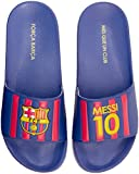 FC Barcelona Messi Mens Pool Slide Sandal, Water-Resistant Slipper for Beach & Shower