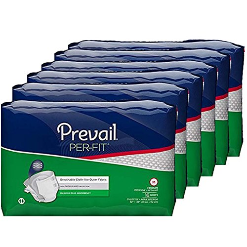 Prevail Per-Fit Maximum Absorbency Incontinence Briefs, Medium, 16-Count, Pack of 6 Prevail Protective Adult Underwear