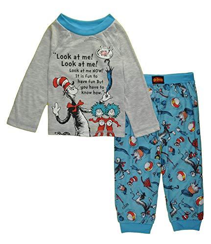 Komar Kids Little Boys' Dr. Seuss Two-Piece Cat in The Hat Pajama Pant Set, Blue/Grey, 3T