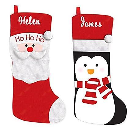 Calcetines de Navidad con bordado personalizado con nombre, Santa Christmas Stocking, Large