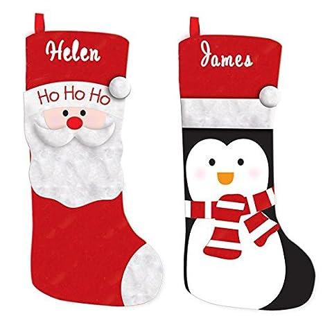 Calcetines de Navidad con bordado personalizado con nombre, Santa Christmas Stocking, Large: Amazon.es: Hogar