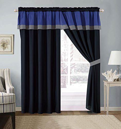 4 Piece Milan NAVY BLUE / BLACK / GREY Color Block Curtain set with attached Valance and Sheers