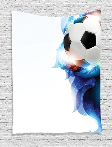 Ambesonne Sports Decor Tapestry, Soccer Ball Surrounded by Art Graphic Design Petals Football Game Theme, Bedroom Living Room Dorm Decor, 40 W x 60 L inches, Dark Blue White and Black by Ambesonne