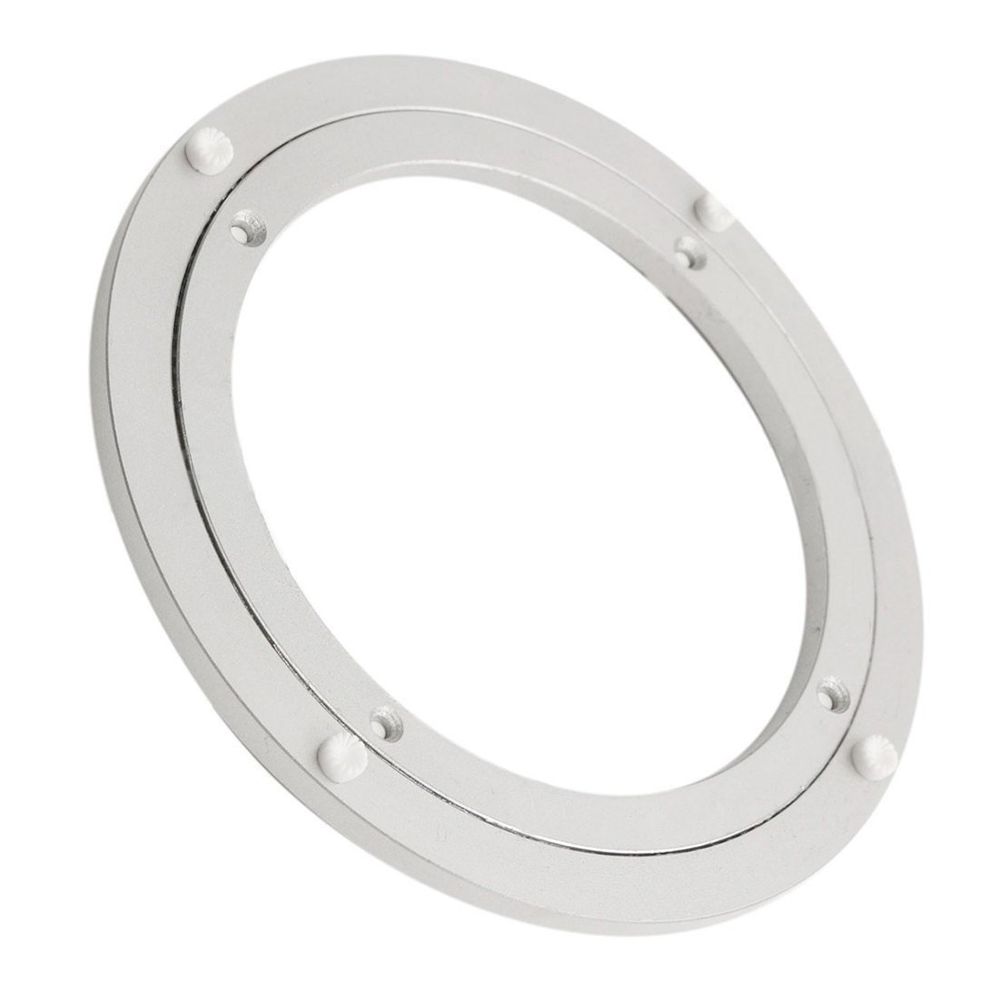 T&B 10 Inch Diameter Aluminum Metal Lazy Susan Hardware Rotating Turntable Bearings Swivel Plate 250mm Silver Turntable on Dining-table