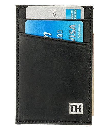 Slim Leather Wallets for Men - Credit Card Holder Front Pocket Wallets for Men - Thin Mens Wallets (Black Leather/Black Thread)
