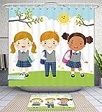Unique Custom Bathroom 2-Piece Set Illustration Of Three Kids In School Uniform Going To School Shower Curtains And Bath Mats Set, 71''Wx71''H & 31''Wx20''H