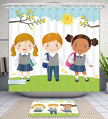 Unique Custom Bathroom 2-Piece Set Illustration Of Three Kids In School Uniform Going To School Shower Curtains And Bath Mats Set, 71''Wx71''H & 31''Wx20''H by Amavam (Image #8)
