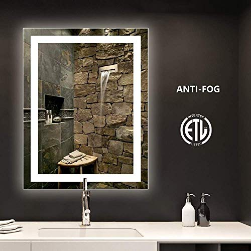 smartrun Bathroom LED Backlit Mirror with Anti-Fog Function - Horizontally and Vertically Wall-Mounted Vanity Sink Mirror, Perfect for Home Use or Hotel Supplies(No Touch Button), 28x36inch (Mirrors Home Wall)