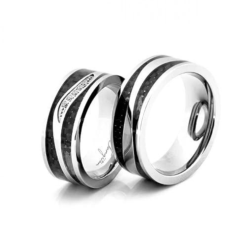 Anillos de boda, de compromiso, de amistad, de titanio con circonita.