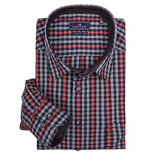 Camicia manica lunga grigio/rosso quadri Juptier XXL