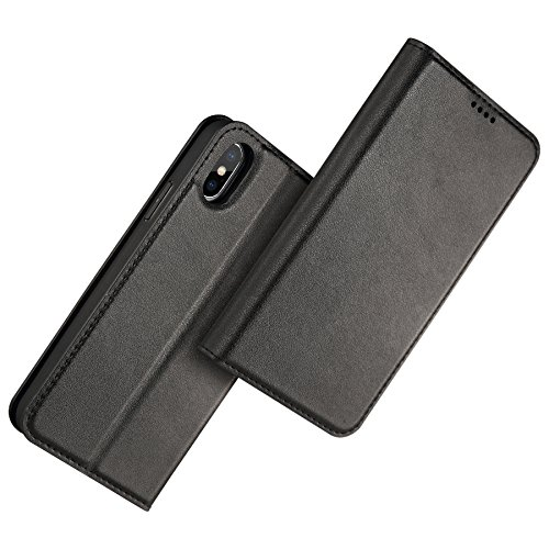 iPhone X Case Italian Head Layer Cowhide Wallet Case Detachable 2 in 1 Magnetic Closure Leather Flip Cover with Card Kickstand Protective Support Wireless Charging Auto Sleep/Wake Function Black