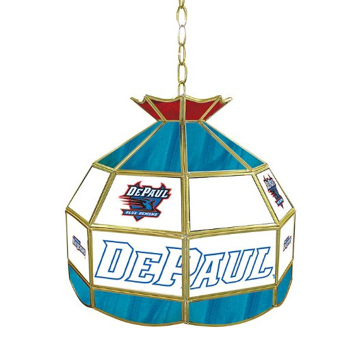 NCAA Depaul 16-Inch Stained Glass Tiffany Lamp by Trademark Global