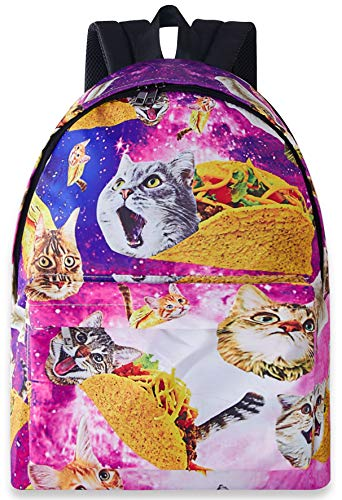 Leapparel 3D Funny Unique Backpacks Animal Print Yellow Red Green Pancake Taco Cat with Blue Purple Starry Galaxy Space Waterproof Sturdy Shoulder School Book Bags for Sports Travel Hiking College