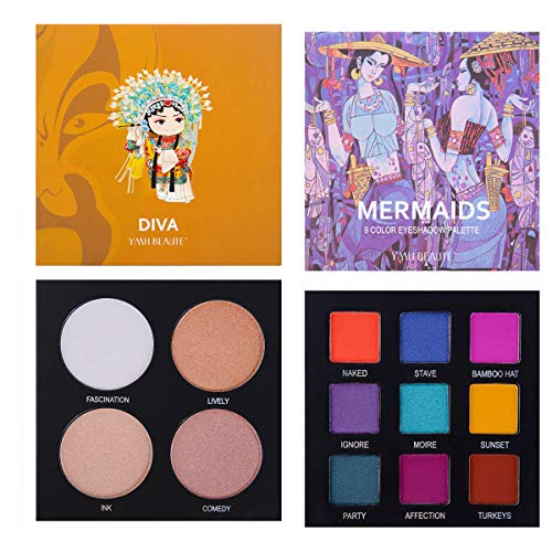 - Eyeshadow Palette Makeup - Highly Pigmented Matte and Shimmer 9 Colors Eye Shadow + Highlighter Glow Kit- Professional Long Lasting Waterproof Makeup Eyeshadow Palettes Cosmetics Eye Shadows, Face Set
