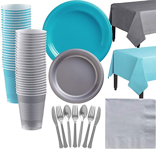 (Party City Big Party Pack Caribbean Blue and Silver Tableware Kit, 537 Pieces, Includes Plates, Napkins, and)