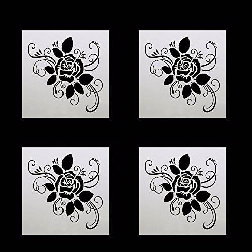 4PCS Rose Flower Shape Plastic Stencils Templates Set for Airbrush Painting and Crafts DIY Baking Decoration Tools Cake Spray Mold ()