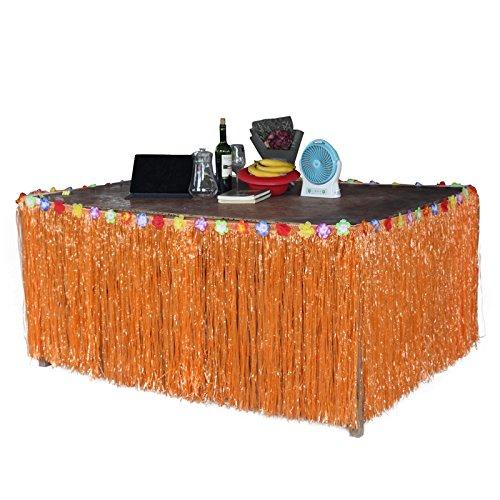 Zehui–Tropical Hawaiana Falda de mesa estilo Césped Artificial Flor Inlaid Luau BBQ Party tableware Decoration,...