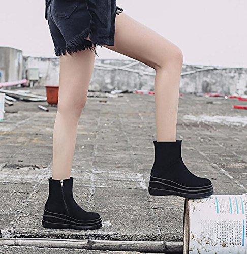 new épais en Khskx Chaussures Unique Tête noir courtes Vache bottes hautes Bottes Bare Fermeture et Éclair ronde bas et femme Bottes latérale de Martin Chaussures pq4nndwCx