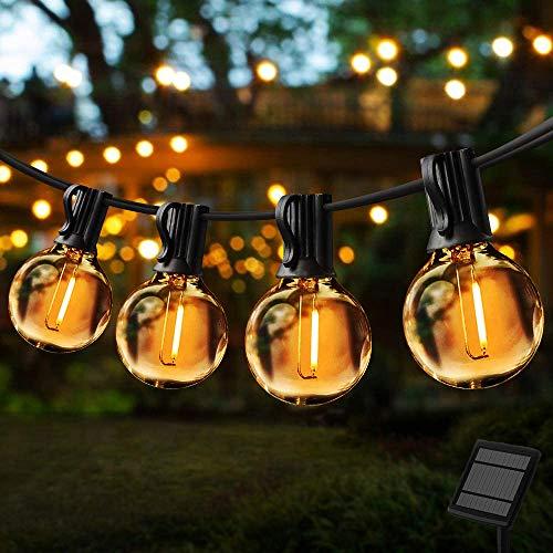 Lichtsnoer op Zonne-Energie voor Buiten,G40 Leds,7.62 Meter,4 Modi, IP44 Waterdicht,Buiten/Binnenverlichting,Solar…
