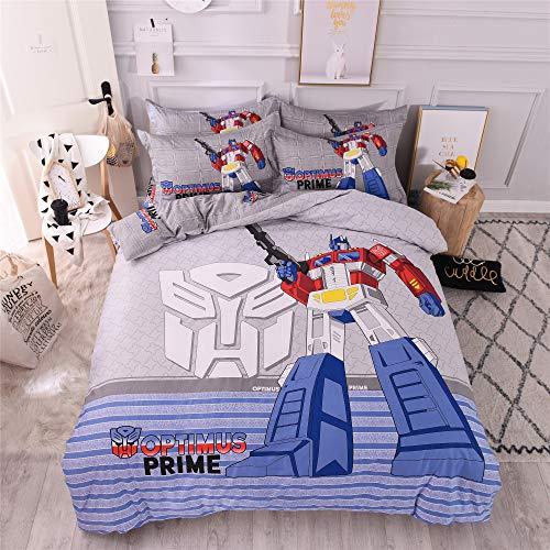 Cenarious Optimus Prime Robot Cartoon American Style Scandinavian Duvet Cover Set Cotton Flat Sheet Bed Cover - 3Pc Bedding Set - Twin Flat Sheet Set - 59
