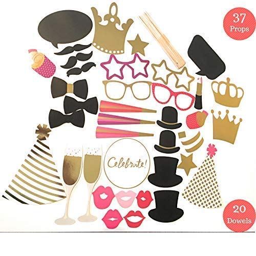 Photo Booth Props | Glam Party Photo Booth Props | 37 Photo Props & 20 Dowels | Photo Booth Props Kit | Capture The Celebration with Photo Party Props]()