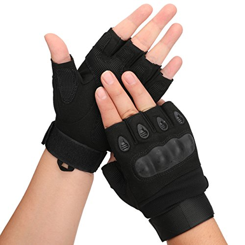 Tactical Military Rubber Hard Knuckle Outdoor Fingerless Gloves for Camping Cycling Motorcycle Hiking Powersports Airsoft Paintball (Black,L)