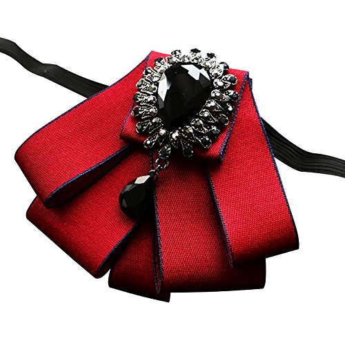 Men's Wedding 6 colors Bow Tie Crystal Rhinestone accessories Women Party necktie (Wine red)]()